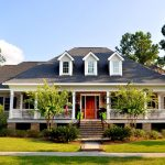 Charleston Style House Plans With Brick Wall Decoration And Terrace Plus Garden Annd Window With Shutter