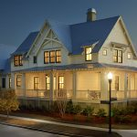Charleston Style House Plans With Imressive Wall And Glass Windows And Fresh Garden And Pathway