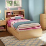 cheerful pink stripe patterned bed sheet idea for twin bed with storage idea with tall headboard in blue bedroom with polka dot patterned rug