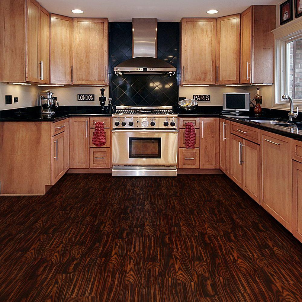 Classic Kitchen Idea With Beige Colored Wooden Cabinetry On Dark Vinyl Plank Floor