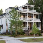 Classy Charleston Style House Plans With Beautiful Garden And Terrace Plus Balcony And Glass Windows Plus Pathway