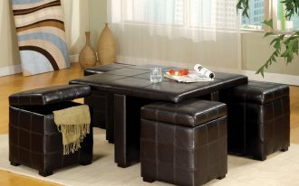 coffee table with ottoman seating in brown leather together with soft rug and wooden laminate floor and window with sheers