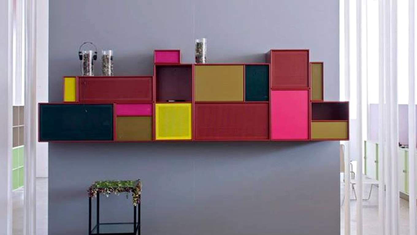 Colorfull Modern Modular Cabinet Mounted On Grey Wall Aside Floor To  Ceiling Glass Window With Lace