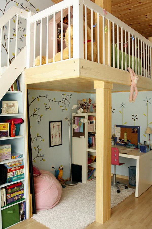 Contemporary Teenage Bedroom With Loft Beds For Teenage Girl And Study Desk  Under The Bed With