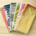 cool chevron pattern clot napkin design in yellow pink blue and purple design with corner decoration