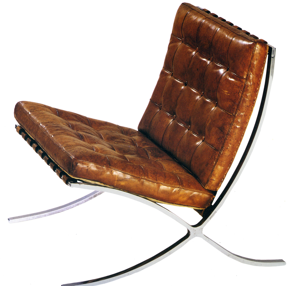 barcelona chair knock off in brown leather with stainless steel chair