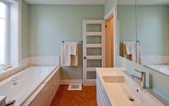 cork floor in bathroom install in incredible bathroom ideas with modern vanity and tub plus mirror awesome bathroom flooring ideas