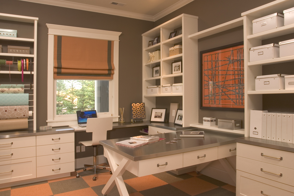 Craft Room For Home Office In Modern Style With Grey Surface Crafting Desk  Plus Drawers Modern
