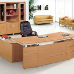 creamy wooden modular desk design with gorgeous black leather swivel chair with tall storage and yellow sofa