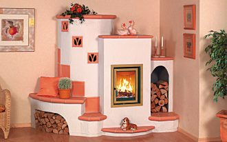creative castle corner wood burning stove design with double log storages with photo wall gallery in creamy room with greenery