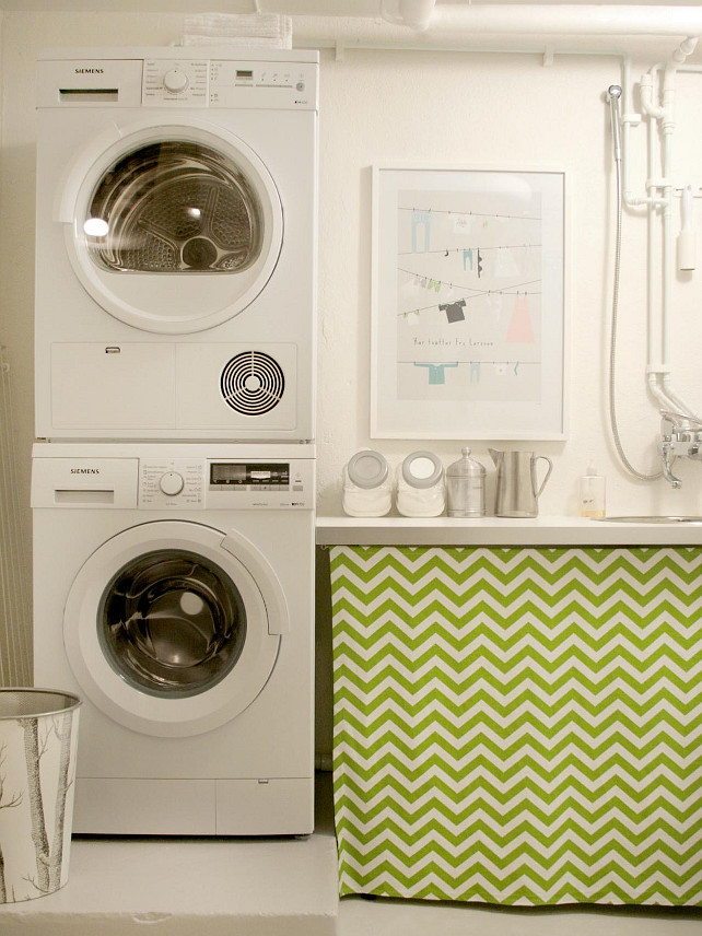 Decorative Laundry Room Design With White Painted Wall And Smallest Stackable Washer Dryer