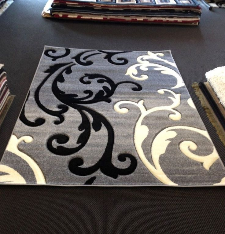 Decorative White Black And Gray Area Rugs For Home With Artistic Pattern