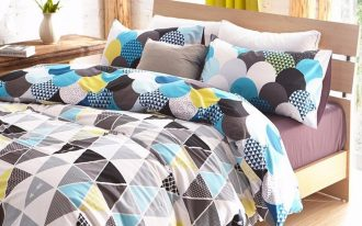 duvet covers for teens and geometric bedding set plus wooden bed frame plus wooden nightstand plus wooden laminate floor