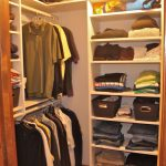 easy closet organization ideas and simple walk in closet with hanging rods and rack plus wooden closet door