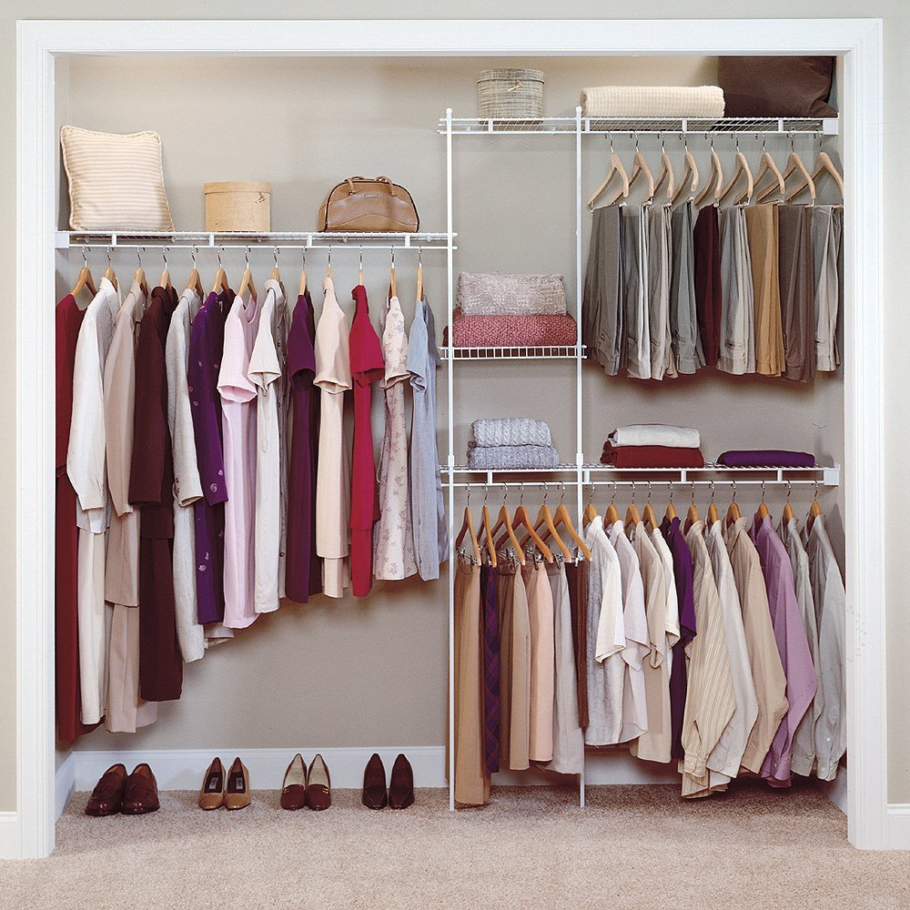 Simple small closet organization tips smart home decorating ideas - Easy Closet Organization Ideas For Modern Outlook With Hanging Rods And Wall Mounted Shelf And Area