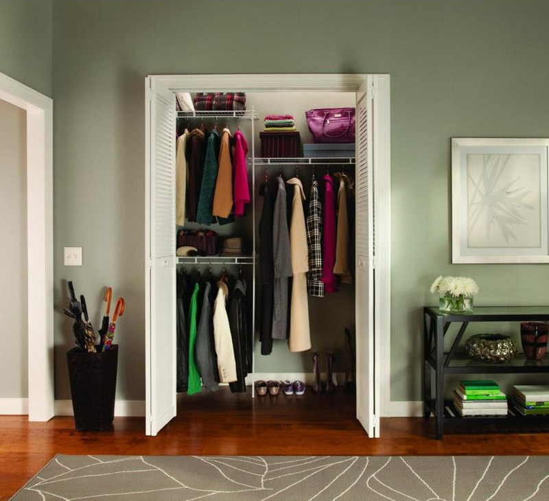 Easy closet organization ideas for small closet with doors and wooden floor plus rug and black