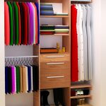 easy closet organization ideas for small closet with hanging rods and drawer plus shoes storage and wooden floor