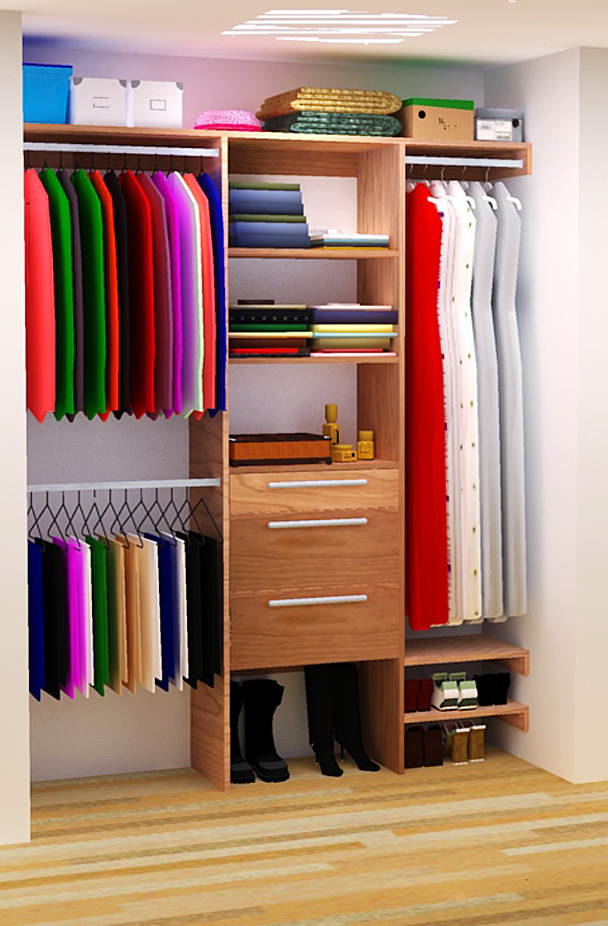 easy closet organization ideas for small closet with hanging rods and drawer plus shoes storage and