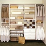 easy closet organization ideas in white with hanging rods and shelves plus drawers and shoes storage