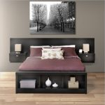 elegant brown wooden storage bed nyc design with headboard idea and purple bed sheet and white pillows