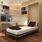 elegant cream bedroom idea with wall storage design and floating desk and wall photo gallery and hardwood floor and murphy bed chicago