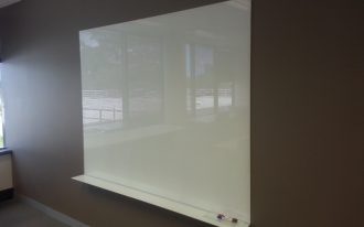 elegant white board glass ikea design with marker place on brown painted wall aside storage beneath glass window