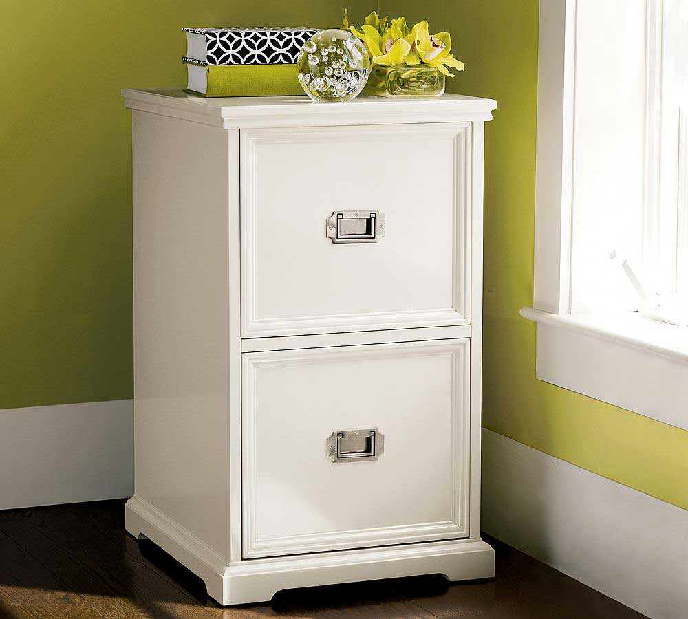 Elegant White Corner Flat File Cabinet Design From Ikea Beneath Lemonade Painted Wall With Vas Flower