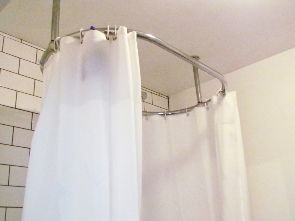 Elegant White Curtain Design For Bathroom With Round Aluminium Tension  Curtain Rod From Ikea With Brick