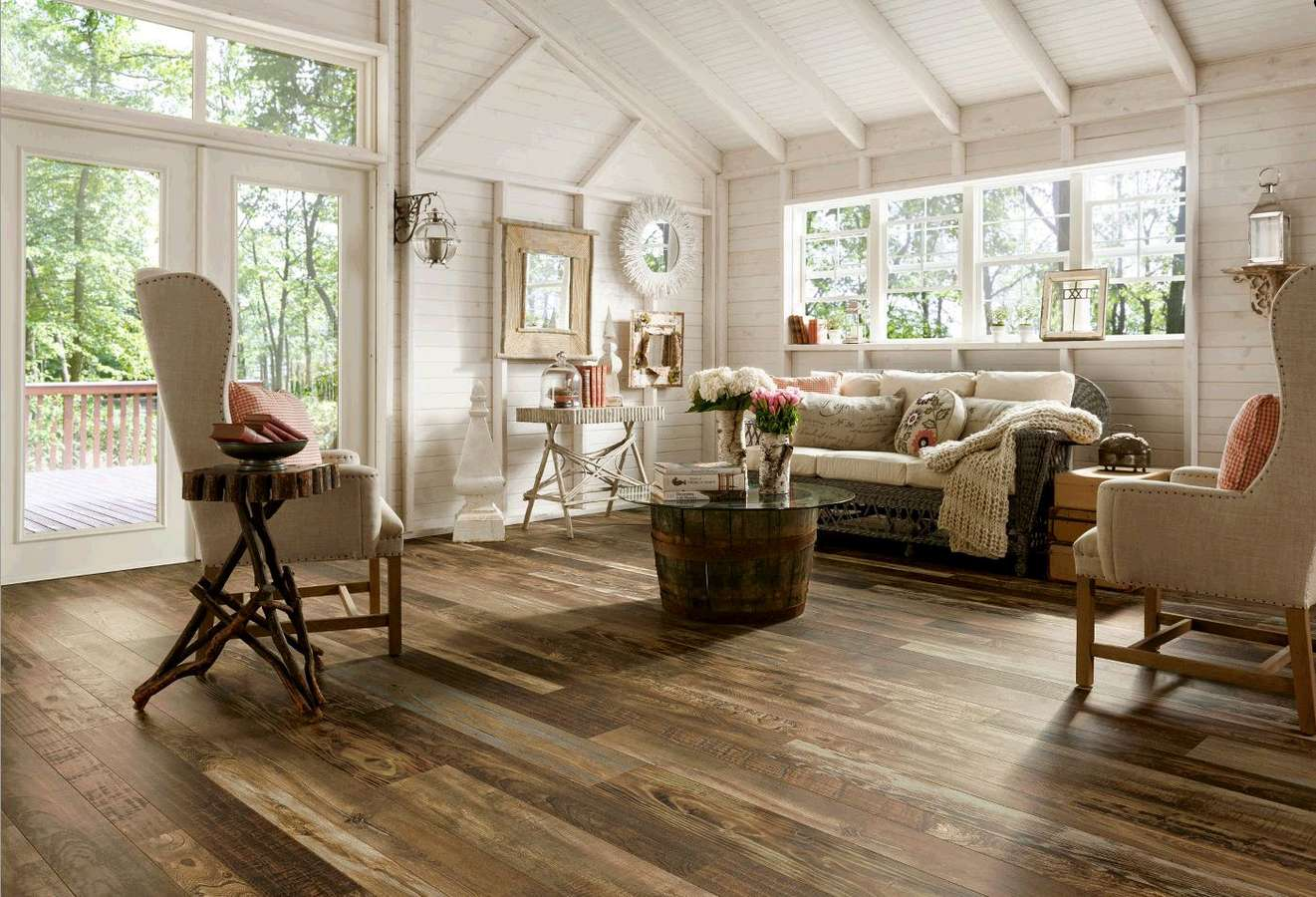 elegant white sunroom idea with open plan and white stunning modern  furniture idea and white washed - Most Durable Hardwood Floor Will Make Your House Appears With Awe