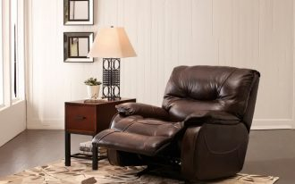 elias recliners that don t look like recliners in brown combined with wooden end table with drawer and table lamp plus pattened rug wan white wooden wall