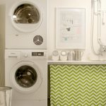 endearing green cabinet cover with chevron pattern beneath large white backsplash aside combo small washer dryer design in small laundry room