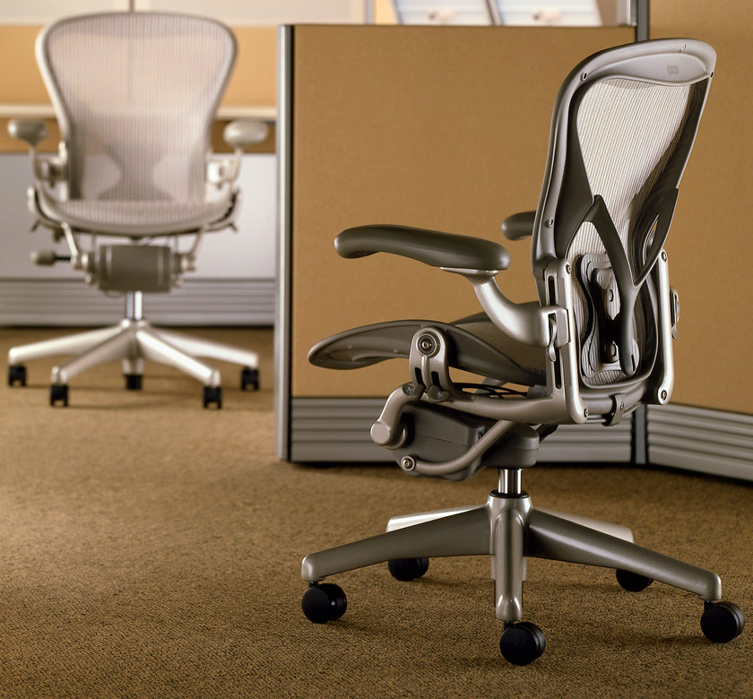 Executive Adjustable Herman Miller Aeron Parts Gray Swivel Chair With  Medium Size B With Posturfit Design
