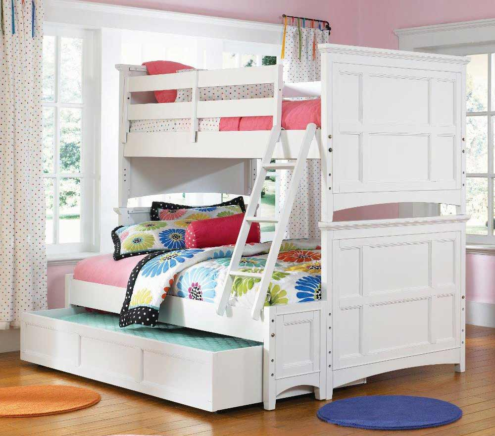 fancy loft beds for teenage girl with cute and comfy bedding set and wooden  bed frame