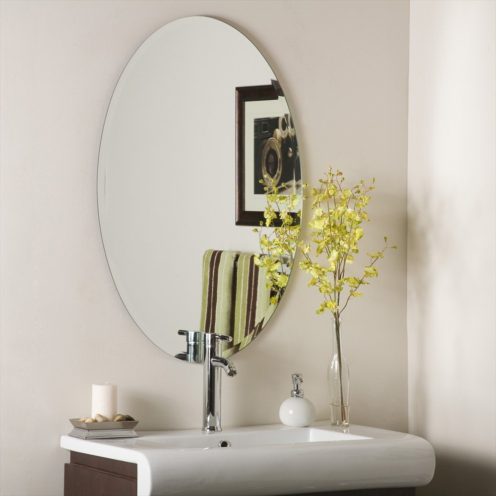Frameless Bathroom Oval Wall Mirror Design With Modern Faucet On Rectangle  Sink Idea With Greenery