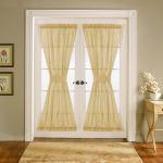 front door window curtains and front door window coverings plus front door window treatments with cute curtain and entry way rug and wooden floor and vintage wooden table