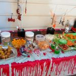 fun snack ideas for parties with candies plus vegetable salad and haloween orages and other snacks