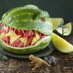 fun snack ideas for parties with watermelon shaped like dinosaurus