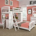 gilr bedroom idea with loft beds for teenage girl with stripes bedding set and rug and desk with wooden chair and make up table