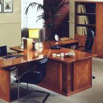 glossy wooden office desk and black leather swivel chair design with palm tree decoration in the corner aside glassy window