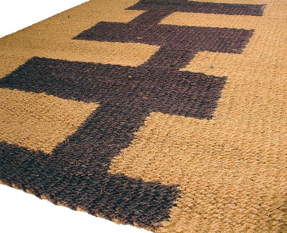 gorgeous brown jute rug idea with black geometrical pattern on its surface in rectangle shape