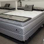 gorgeous gray shifman mattress design review with black patterned sheet and pillows with gray accent beneath white wall
