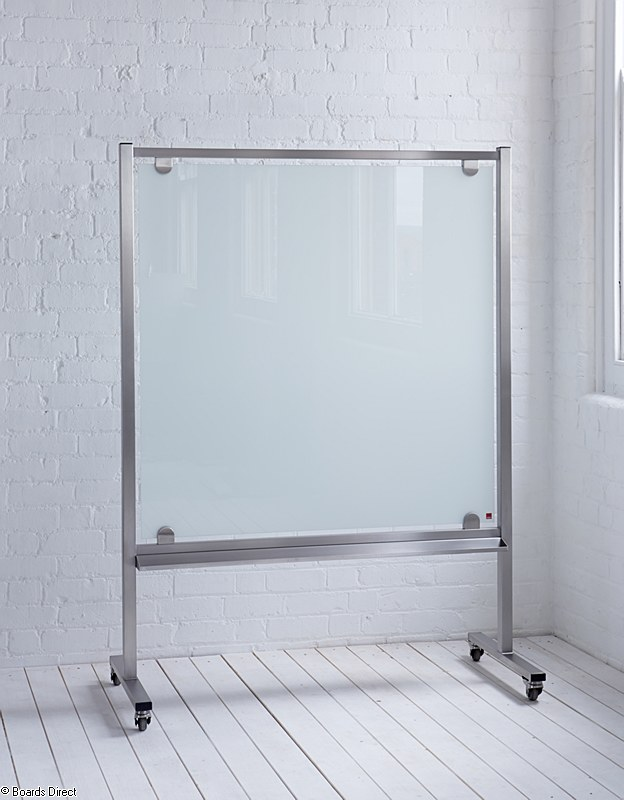 gorgeous movable glass white board ikea design with stainless steel frame on small tile flooring in