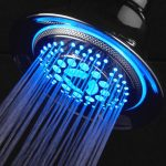gorgeous smart designed best showre filter for hard water idea in round shaoe with stunning blue lighting