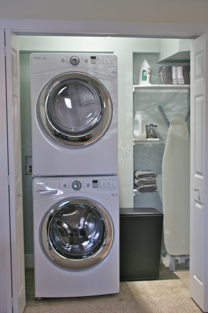 room design with corner storage idea with small stackable washer dryer