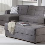 Gray Sectional Sleeper Sofa Chaise With Ottoman Coffee Table And Modern Rug Plus White Flooring
