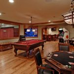 interior design games for adults and stunning game room ideas with card table and billiard tablr plus classic ceiling lamp and basket ring plus wooden floor