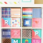 joyful colorful expedit storage bins design for white cabinet with alphabet accent with blue and pink color