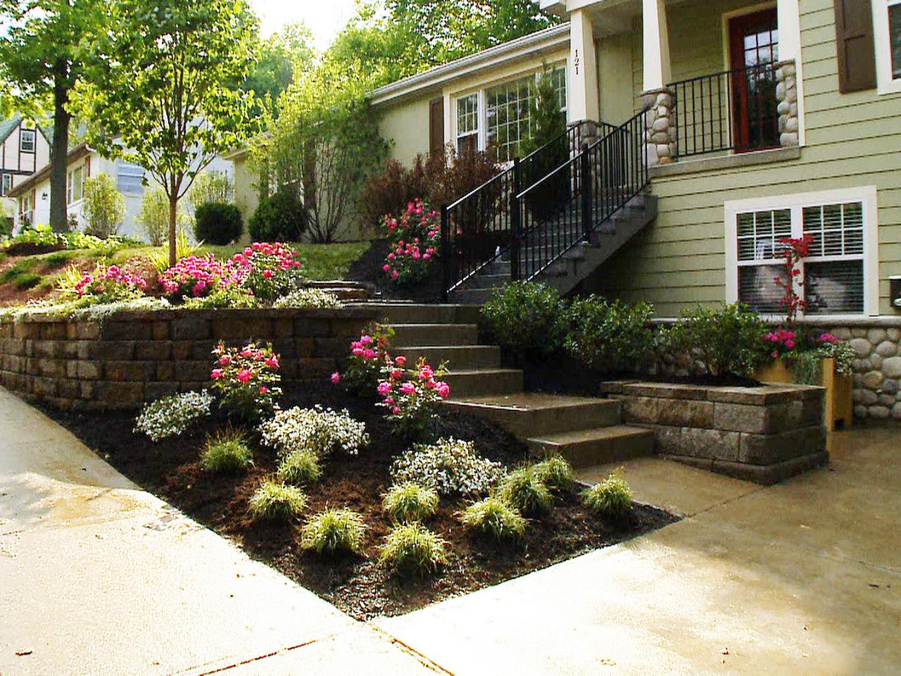 Landscaping Ideas For Front Of House With Stairs And Concrete Floor Bed Slope