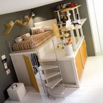 loft bed furniture with staircase storage and desk