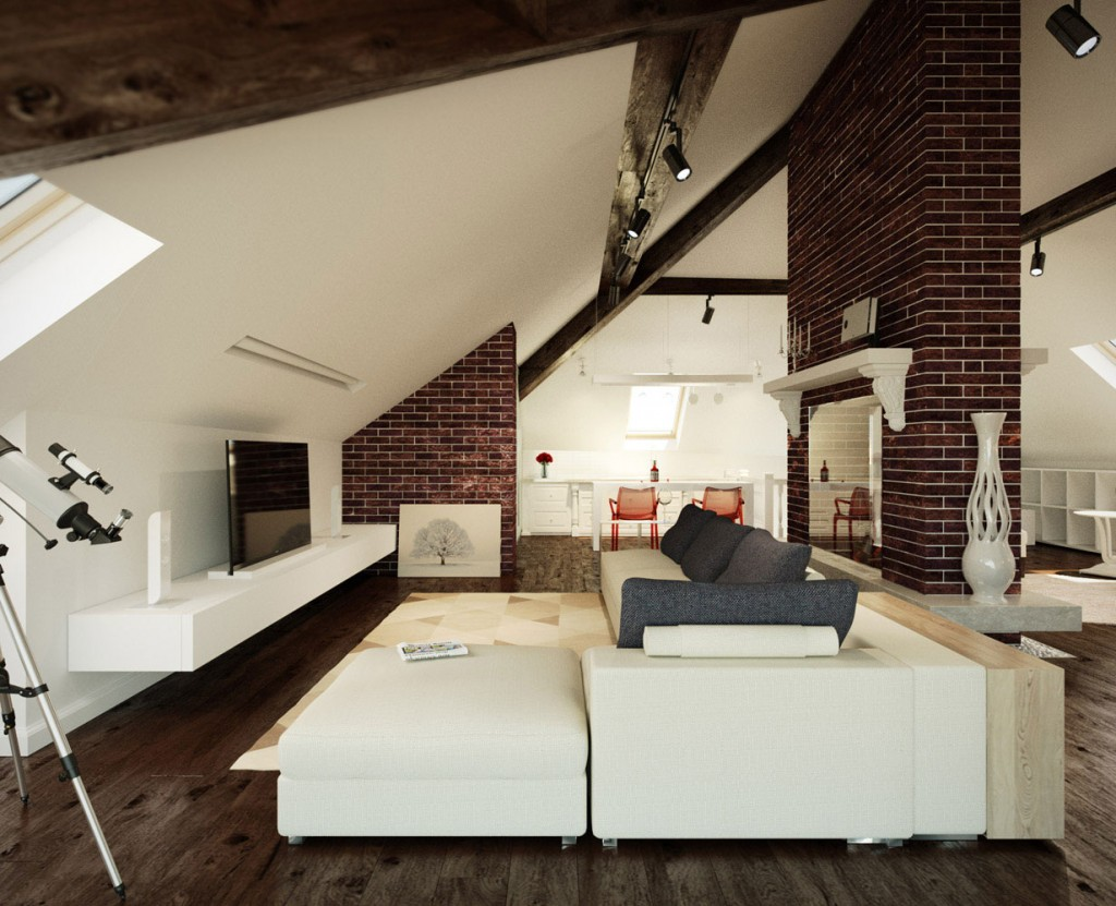 The loft design exposed bricks loft style leather couch sleek